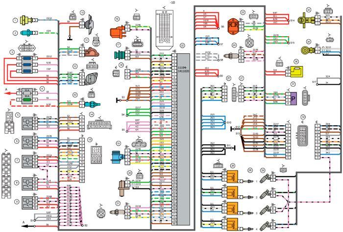 Схема электрических соединений системы зажигания автомобилей LADA KALINA