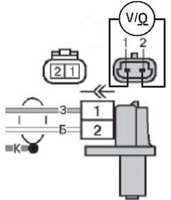 Схема подключения мультиметра к выводам датчика положения коленчатого вала