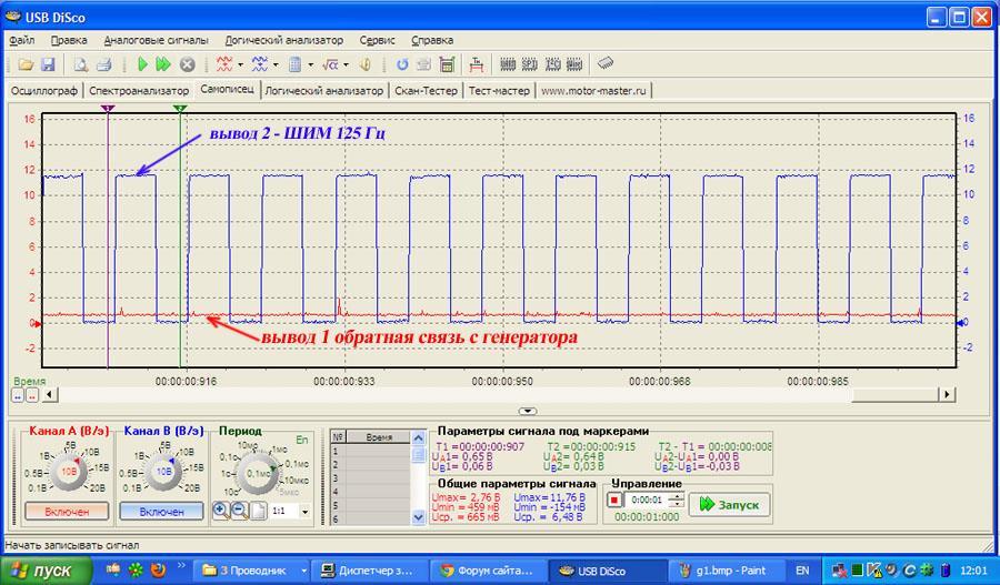 осциллограмма обратной связи ШИМ с генератора Форд Фокус 2