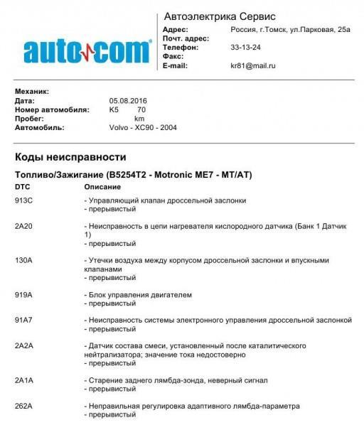 Volvo XC90 2.5L Turbo - Компьютерная диагностика в Томске