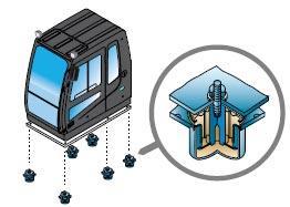Система подвески кабины экскаватора hyundai