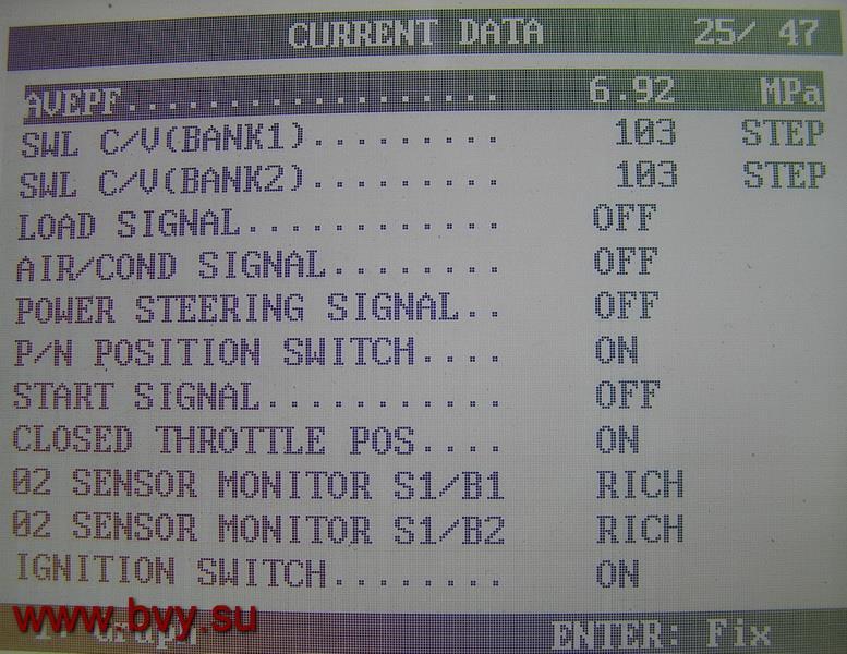 давление топлива двигатель VQ25DD_1