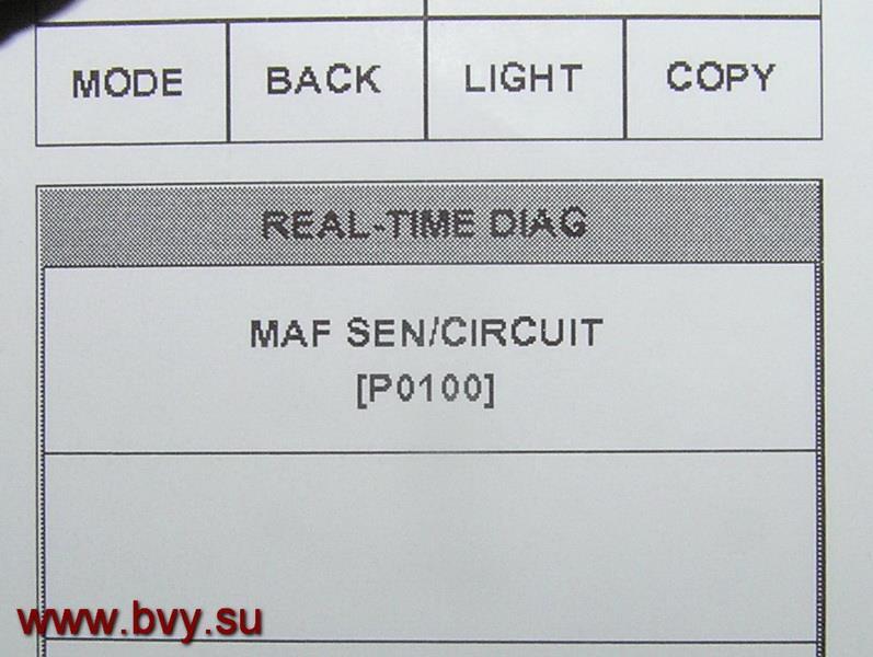ошибка по датчику MAF двигатель VQ25DD