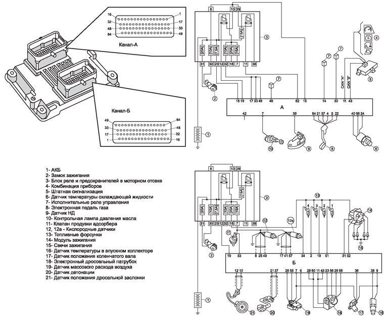 Упрощенная электрическая схема системы распределенного впрыска топлива автомобиля Fiat Albea под нормы токсичности Евро-3 модельного ряда 2008 года
