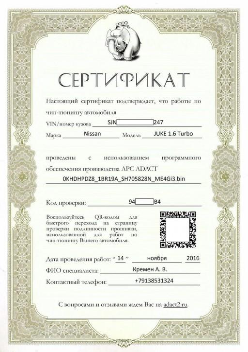 Nissan Juke F15 1.6L MR16DDT Hitachi - Сертификат проверки подлинности прошивки