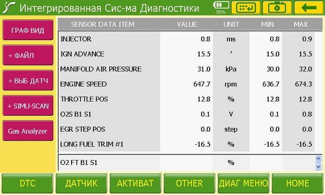 выбор параметров на сканере для диагностики двигатель 3S-FSE