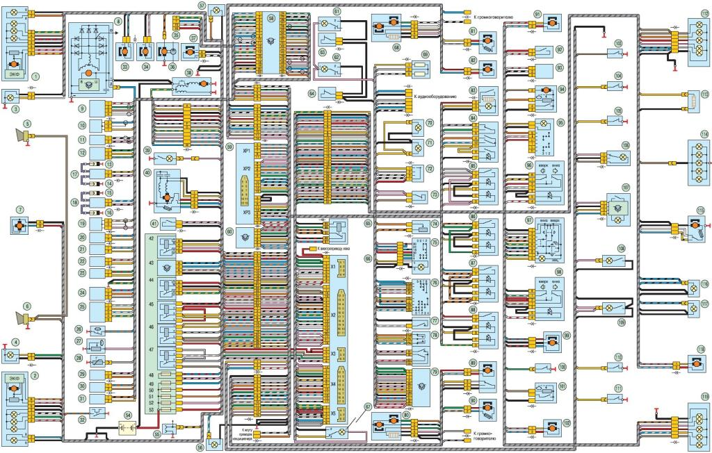 Общая схема электрооборудования УАЗ Патриот Евро-4