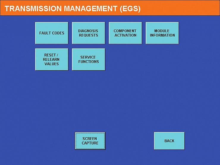 Экран 1 — Меню EGS