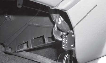 Общий вид расположения диагностической колодки в салоне автомобиля