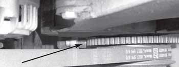Место расположения датчика положения коленчатого вала